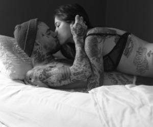 bed, tatoos, and bedroom image