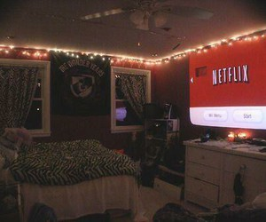 netflix, room, and bedroom image