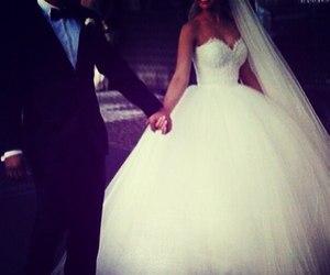 boy and girl, bride, and kiss image