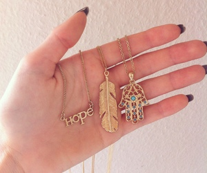 necklace, hope, and gold image