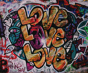 love, graffiti, and peace image