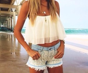 beach, bustier, and jeans image
