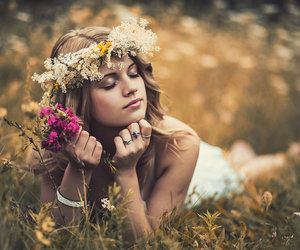 blond, flower, and girl image