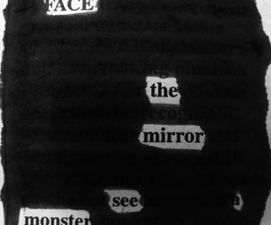 monster, mirror, and text image
