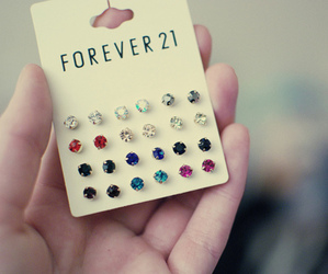 forever 21, earrings, and blue image