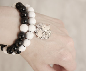 accessories, beads, and black and white image