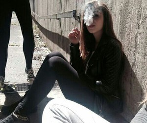 black, cigarette, and girl image