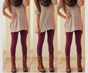 boots, burgundy, and cozy image