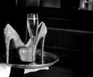 heels, champagne, and high heels image
