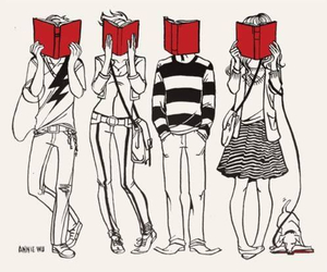 book, drawing, and red image