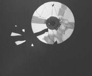 black and white, broken, and cd image