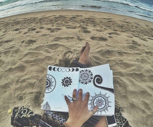 beach, drawing, and sand image