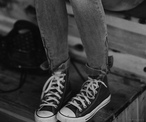 girl, converse, and coffee image