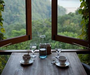 window, nature, and coffee image