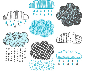 clouds, doodle, and rain image
