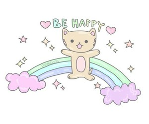rainbow and be happy image