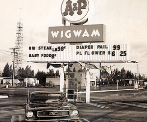 black and white, car, and supermarket image