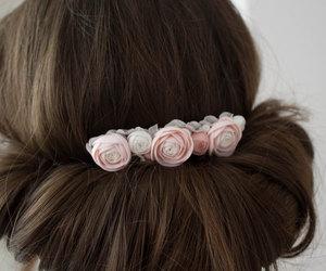 pastel flowers, romantic wedding, and wedding headpiece image