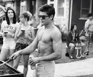 barbecue, zac efron, and black and white image