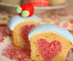 cake, heart, and cup cake image