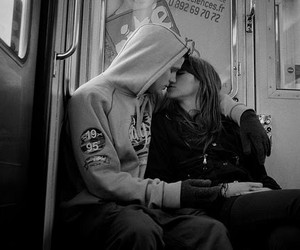 kiss, black and white, and love image
