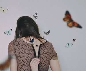 brunette, butterfly, and fashion image
