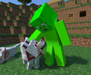 minecraft, wolf, and cute image