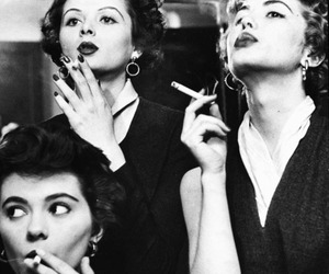 black and white, cigarette, and woman image