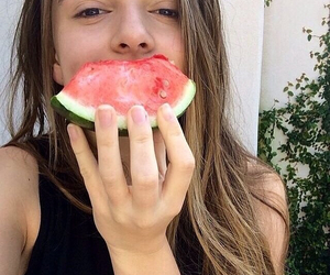 girl, watermelon, and food image