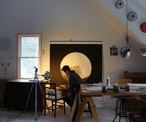 artist, light, and studio image