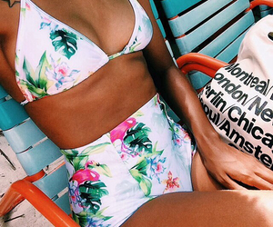 american, bikini, and flowers image