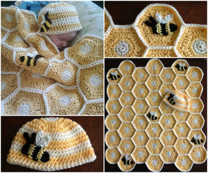 blanket, crochet, and hat image