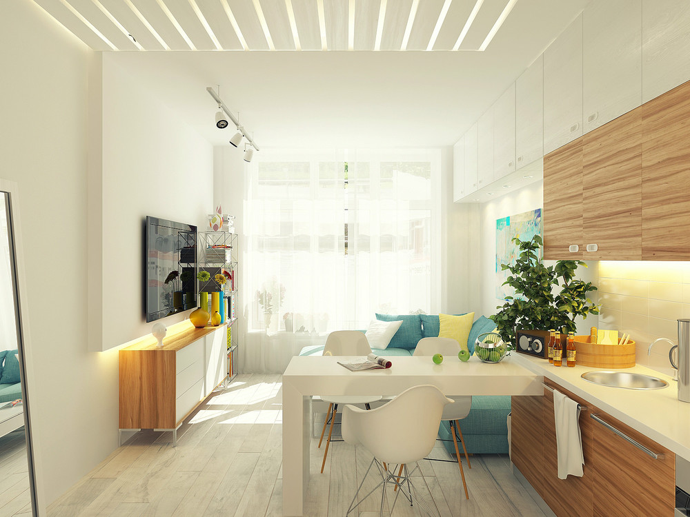 Amazing Open Plan Design Ideas For Small Apartment With Kitchen White Dining Room Table Eames Dar Chair And Round Stainless Steel Sink Plus Blue Sectional Sofa In Modern Living Room Track Lighting Jpg 1000 750 Discovered By Leeweijuin