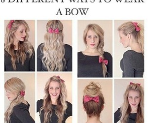 hair, bow, and tutorial image