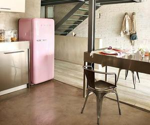 kitchen and pink fridge image