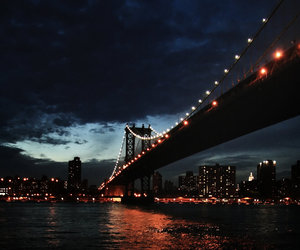 city, bridge, and lights image