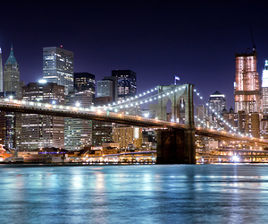 new york, bridge, and city image