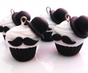 cupcake, mustache, and moustache image