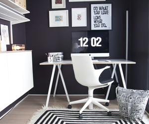 black and white, home decor, and home office image