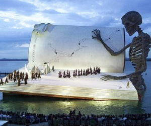 book, skeleton, and stage image