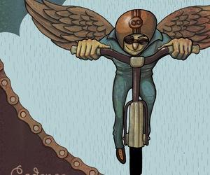 bicycle, character, and ilustracion image