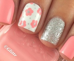 flowers, silver, and nails image