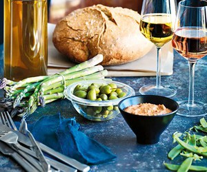 asparagus, bread, and food image
