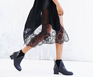 black lace, boots, and fashion image