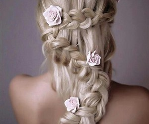 hair, roses, and hairstyle image