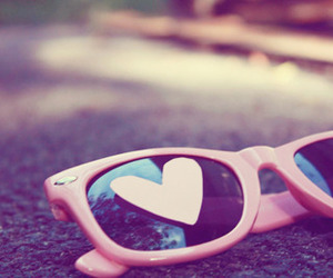 heart, pink, and glasses image