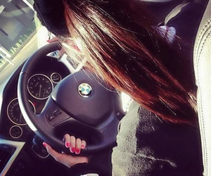 bmw, car, and brunette image