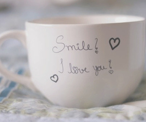 love, smile, and cup image