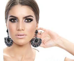 make up, black earrings, and camila coelho image