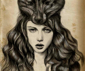 wolf, art, and hair image